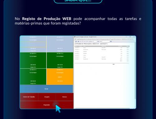 Curiosidade GGWEB: Acompanhamento de tarefas e matérias-primas no Registo Produção WEB