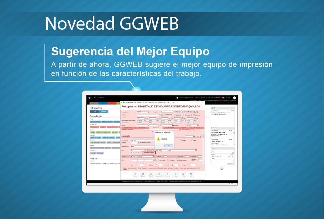 Novedad GGWEB Sugerencia de Máquina