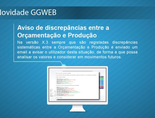 Novidade GGWEB X.3: Aviso de discrepâncias entre a Orçamentação e Produção