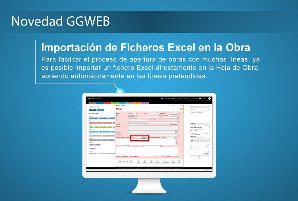 Novedad GGWEB: Importación de Ficheros Excel en la Obra