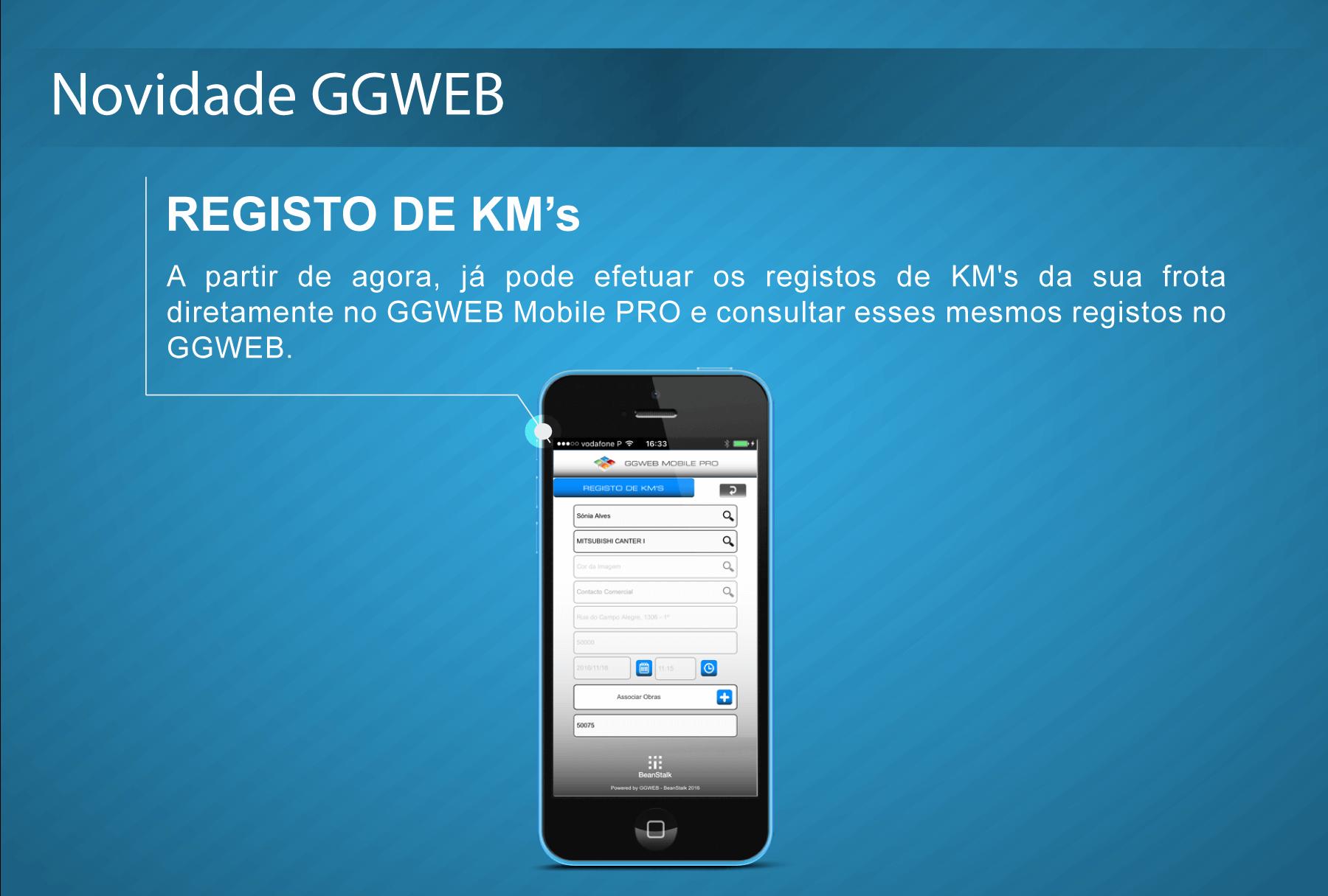 GGWEB Mobile PRO: Registos de KM's